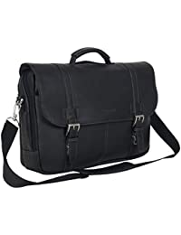 Show Full-Grain Colombian Leather Dual Compartment Flapover 15.6-inch Laptop Business Portfolio, Black