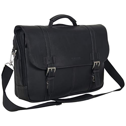 Kenneth Cole Reaction Show Full-Grain Colombian Leather Dual Compartment Flapover 15.6-inch Laptop Business Portfolio, Black (Black Leather Bag)