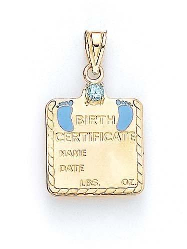 Bleu topaze 14ct bébé garçon 1 pendentif jewelryWeb certificat, 41 cm