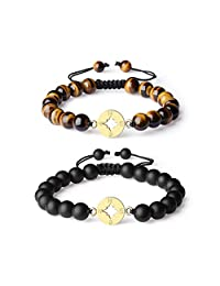 COAI Long Distance Stone Matte Onyx Compass Matching Couple Bracelets