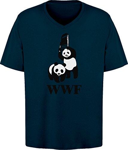 BSW Men's WWF WWE Panda Wrestling Chair V-Neck 3XL Navy