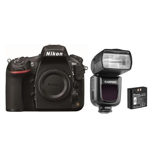 Nikon D810 DSLR Body - Bundle with Flashpoint Zoom Li-on R2 TTL On-Camera Flash Speedlight (Battery Professional Flashpoint Grip)