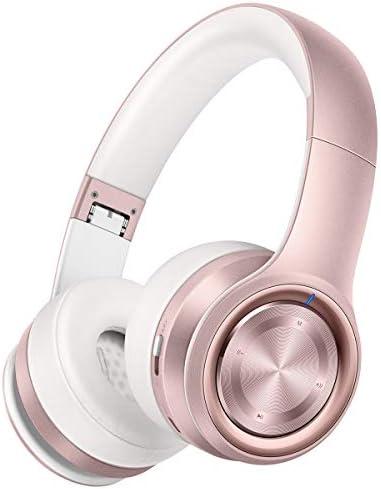 [Gesponsert]Picun Bluetooth Kopfhörer Over-Ear, 40 Stunden Spielzeit, Damen Kopfhörer Bloothooth 5.0 Kabellos mit Mikrofon, TF Karte Modus, 3,5mm Audio AUX, Faltbares für Handy/TV/Tablets/PC - Rose Gold
