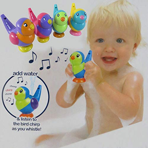 CapsA Wooden Bird Whistles Bath Toy Fun Party Favor for Children's Parties Birthday Gift Easter Gift Baby Educational Toys Water Whistles Warbler (Red) from CapsA-Toys