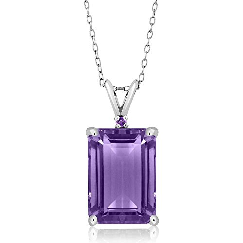 Gem Stone King Purple Amethyst 925 Sterling Silver Pendant Necklace 7.12 Ct Emerald Cut Gemstone Birthstone with 18 Inch Silver Chain