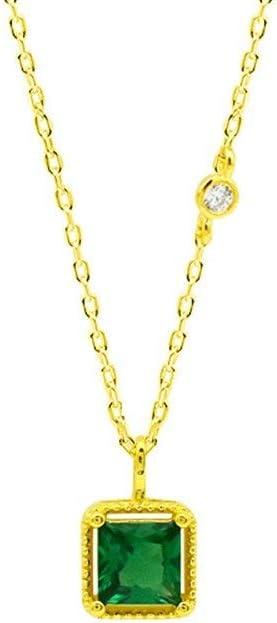AntCompany Versión Esmeralda del Collar Esmeralda de Plata esterlina S925 de la joyería de Cadena de clavícula Cuadrada Femenina