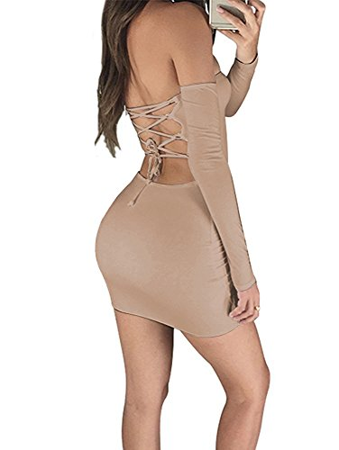 Backless Solid Cotton (Doramode Sexy Off Shoulder Strapless Bandeau Long Sleeve Backless Lace Up Above Knee Bodycon Fitted Cotton Solid Nightclub Party Dress Khaki Large)