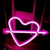 Neon Heart Signs Led Neon Lights up Sign Decorative Neon Wall Light for Girls Room (Pink Cupid)