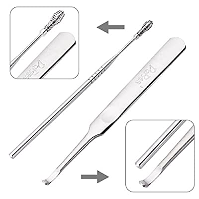 Ear Wax Pick Remover Curette for Build Up Impacted Earwax. Medical Grade Ear hygiene Care Kits Scooping Out Instead of Pushing In Deeper Sturdy & Durable Surgical Stainless Steel with Instructions