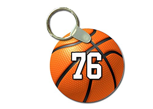 TYD Designs Key Chain Sports Basketball Customizable 2 Inch Metal and Fully Assembled Ring with Any Team Jersey Player Number 76 ()