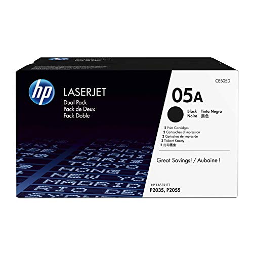 Hewlett Packard Print Smart (HP 05A (CE505A) Black Toner Cartridge, 2 Toner Cartridges (CE505D) for HP LaserJet P2055 P2055d P2055dn P2055x)
