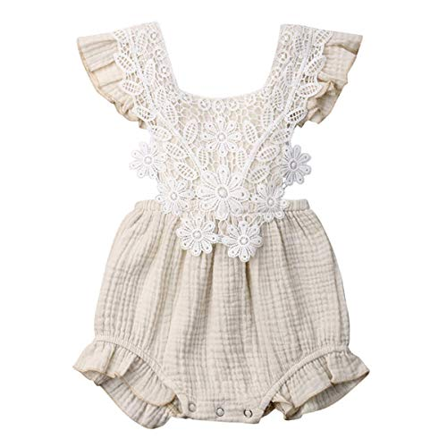 GRNSHTS Baby Girls Romper Infant Girl Lcae Bodysuit Ruffle Onesie Backless Iumpsuit Summer Clothes (Lace Khaki, 18-24 -