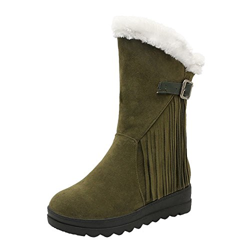Show Shine Dames Casual Plateaugesp Verborgen Hak Snowboots Army Green