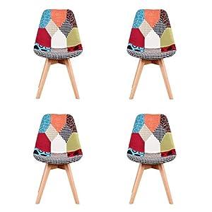 ArtDesign FR – Sillas de comedor con diseño de tulipán moderno con base de madera maciza, 2 unidades 418gvc6DWmL