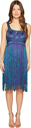 Alberta Ferretti Women's Sleeveless Fringe Dress Fantasy Print Violet (Alberta Ferretti Sleeveless)