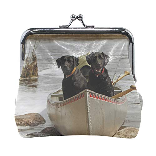 Rh Studio Coin Purse Dog Couple Boats Rocks River Print Wallet Exquisite Clasp Coin Purse Girls Clutch Handbag