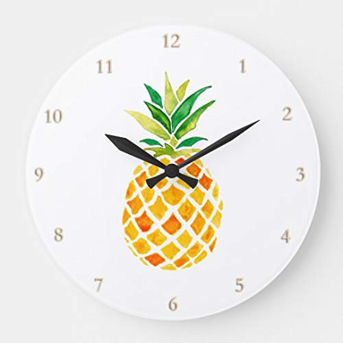 (Moonluna Watercolor Pineapple Nursery Wooden Wall Clock Battery Operated Roman Numerals Silent Non-Ticking 14 Inches Kids Clock)