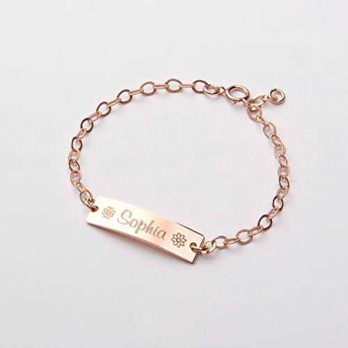 Bracelet Baby 14k (Custom Baby Name bracelet-Adjustable Baby Toddler Child ID Bracelet-Personalized Bar-Both Sides-14K Gold Filled-Rose-Silver-CG277B_1X.25)