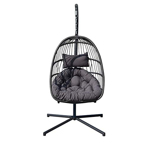 Homgrace Hanging Basket Egg Chair, Detachable Wicker Hanging Swing Chair with Cushion Stand ... (Model 2) (Patio Chair Egg)