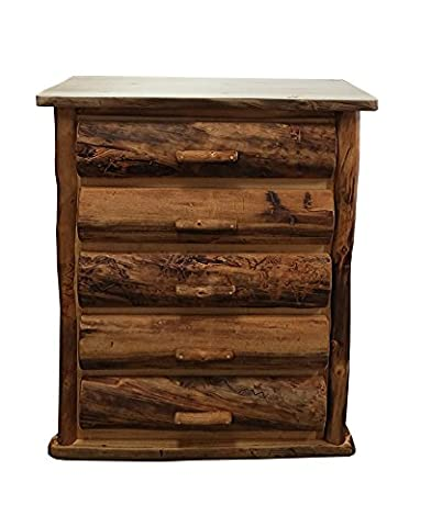 Mountain Woods Furniture Aspen Grizzly Collection 5 Drawer Chest, Wood Pull, Golden Poly Finish - Mountain Lodge 5 Drawer Chest