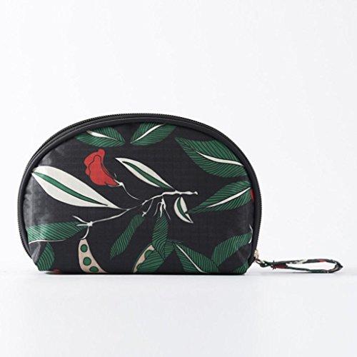 Jarsh Waterproof Women's Cosmetic Bag Travel Cosmetic Bag Wash Makeup Bag Small Shell Bags (Black)