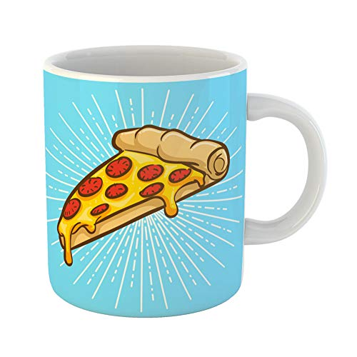 (Emvency Coffee Tea Mug Gift 11 Ounces Funny Ceramic Slice Pizza Cheese Pepperoni Lunch Flat Gifts For Family Friends Coworkers Boss Mug)