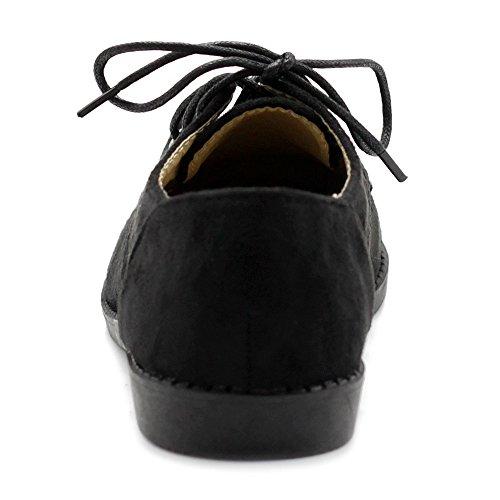 c209f6e54d49 Ollio Women Classic Flat Shoe Lace Up Faux Suede Oxford ZM2910(8 B(M ...
