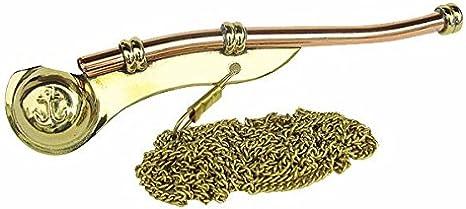 Bootsmannspfeife 12 cm Messing Antik In Holzbox 154 mm