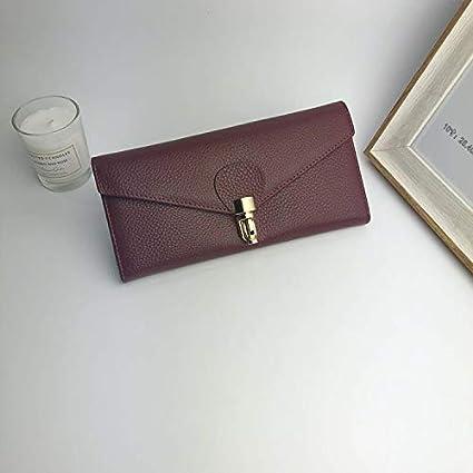 Color : Dark Gray Color : Black LanDream Korean Version of The Long Wallet Ladies Clutch Bag Leather Wallet Female Women Purse