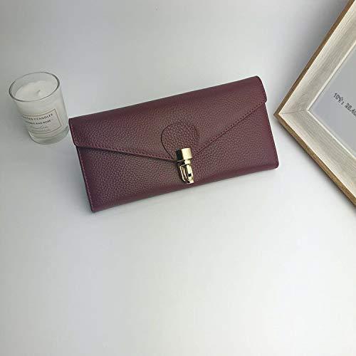 Burgundy YOIOY Envelope Clutch Bag Korean Version of The Long Wallet Ladies Clutch Bag Leather Wallet Female (color   Black) (color   Green)
