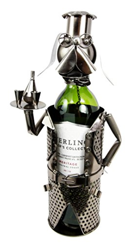 Atlantic Collectibles Beagle Dog Party Cocktail Waiter Butler Hand Made Metal Wine (Metal Grapes Wine Bottle Holder)