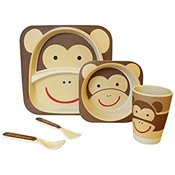 Cups, Dishes & Utensils Bowls & Plates Bamboo Eco Baby Bowl Spoon Fork Set Monkey