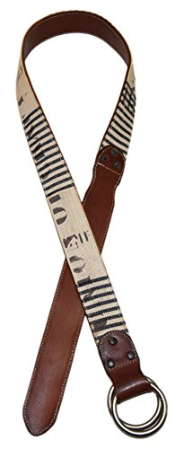 Polo Ralph Lauren Double RL RRL Mens O-Ring Leather Canvas Belt Brown Navy - Rl Double Ralph Lauren