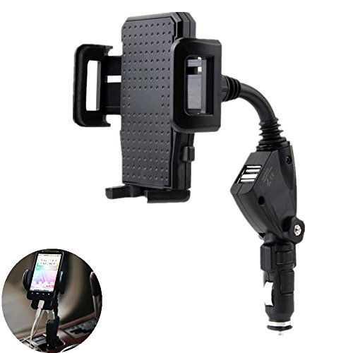 3-in-1 Cigarette Lighter Car Phone Holder Charger, Leagway Car Mount Cradle w/ Dual 2 USB 3A Charger for iPhone 8 X 7 6s 6 Plus 5s Samsung S8 S7 S6 Edge Note 6 5 4 3 and More Smartphones (Car Mount 6 Cigarette Iphone)