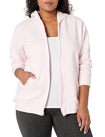 Just My Size Women's Plus Full Zip Fleece Hoodie, Pale Pink, 2X