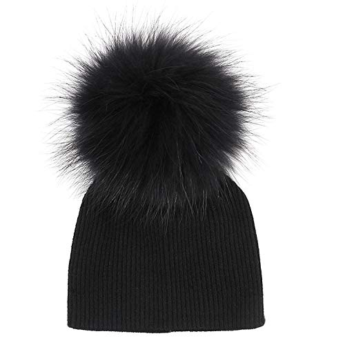 Autumn Winter Baby Boys Girls with Real Fur Pompom Soft Plain Wool Cotton Skullies Hats for Kids Child Caps