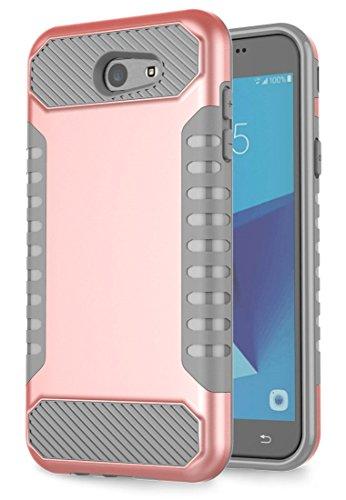 Slim Fit Hybrid Case for Samsung J7 (Grey/Red) - 2