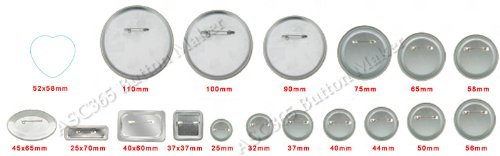 1-1/2'' 37mm 100Sets Pin Badge Button Parts Supplies for Pro Maker Machine by Button Maker (Image #5)