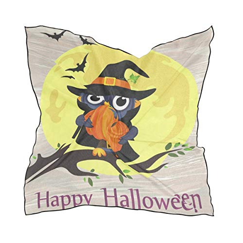 Silk Scarf Halloween Owl In Witch Costume With Pumpkin Square Headscarf 23 x 23 inches for Women/Girls -