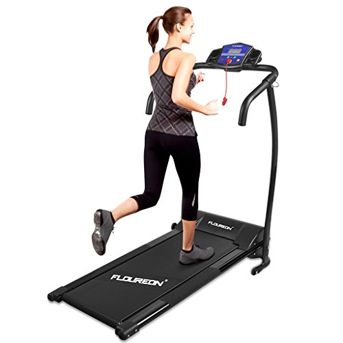 Floureon Folding Electric Motorized Treadmill Running Jogging Walking Machine Portable Gym Equipment for Fitness and Exercise, 600W, 47.2×23.6×48.4″, Black