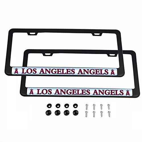 2PCS MLB Lightweight License Plate Frames Black Matte Powder Coated Aluminum - Los Angeles Angels - Mlb Baseball License Plate Plates