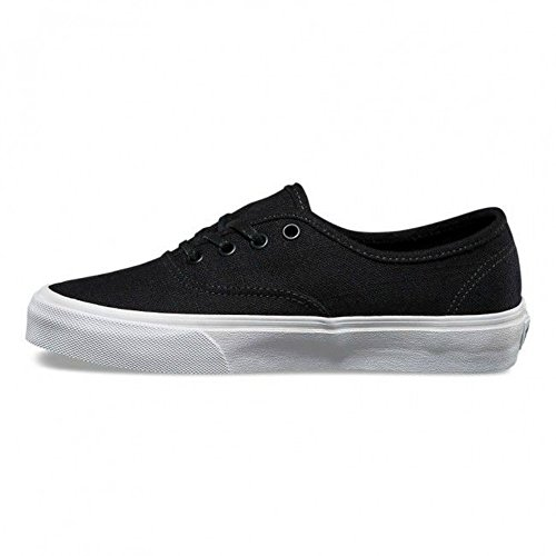 Vans Men's Authentic Skateboarding Shoe (Hemp Linen) Black/True White (9 Women/7.5 Men M US)