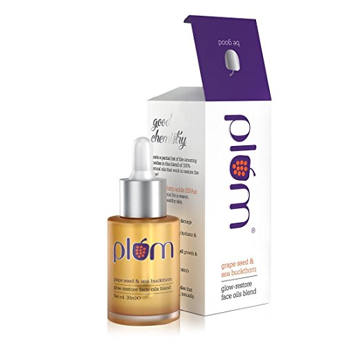 Plum Grape Seed & Sea Buckthorn Glow-Restore Face Oil Blend | For Dry, Very Dry Skin | Hydrates the Skin | Argan Oil…