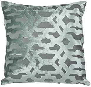 Urban Loft by Westex Velvet Geo Green Feather Filled Decorative Throw Pillow Cushion 20 x 20