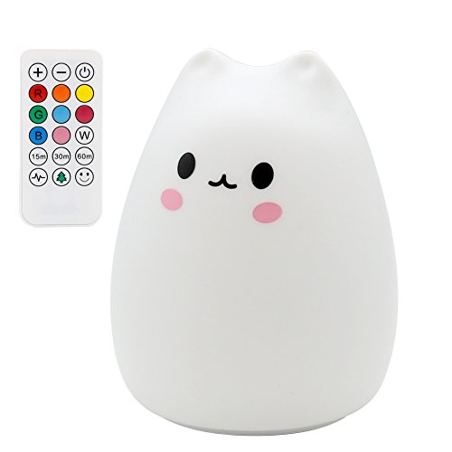 ANTEQI Carton Night Light Silicone Remote Timer Cute Cat Lamp Tap Control Lamp For Kids Bedroom Nursery Baby [Wireless Remote Timer, USB Charge, Warm & White Light, 9 Color Breathing] by ANTEQI