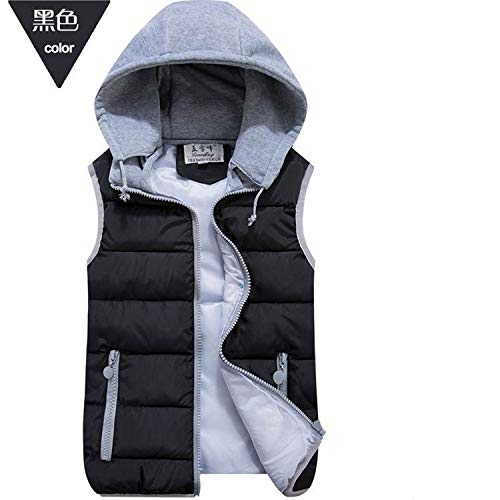 (ZHANGZZ Wool Collar Hooded Down Vest Removable Hat Female Thicken Winter Warm Black Jacket Outerwear New Plus Size M1 )