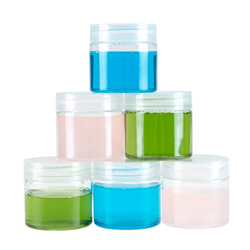 2d4c03a61e02 Clear 2 Ounce Plastic Jar Containers, 6 Pack of Plastic Storage Jars ...