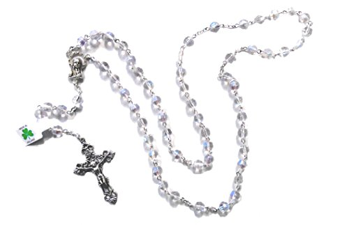 - Clear Bead & Silver Crucifix Rosary by J.C. Walsh & Sons- Made In Ireland