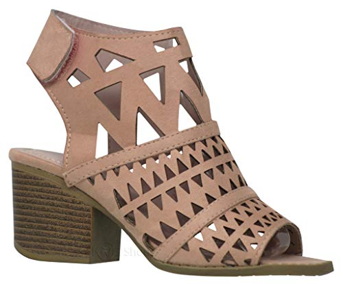 MVE Shoes Womens Chunky Heel Open Toe Cut Out Ankle Strap Faux Leather- Heeled Sandals