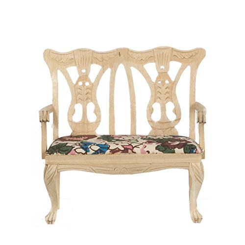 Melody Jane Dollhouse Double Chair Sofa Unfinished Bare Wood Miniature Lounge ()